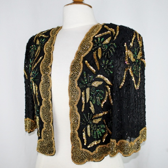 eb9b4eac Jasdee Jackets & Coats | Vintage Bolero Jacket Hand Work Bead Sequin ...